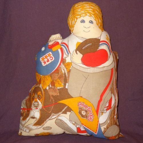 Cabbage-Patch-Kids-Football-Player-Plush-Stuffed-Pillow-Finished-1983-16-034-Fall