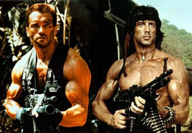 Arnold Schwarzenegger and Sylvester Stallone for Contra