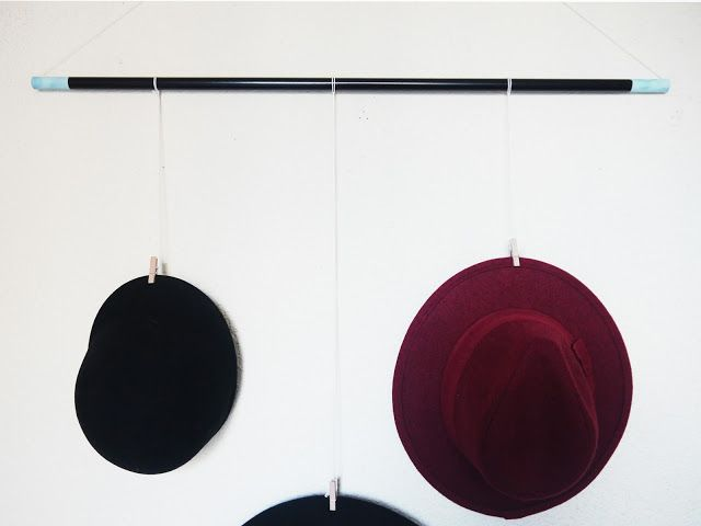 DIY Hat rack with Pinty Plus pale turquoise ends