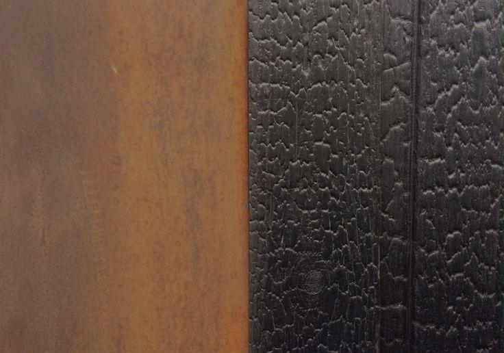 Shou sugi ban and rusting steel - infrared sauna design and materials
