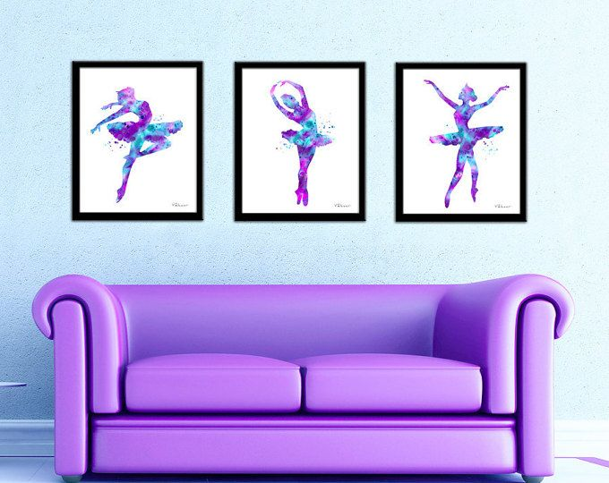 Purple, pink, aqua, ballerina set, ballerina print, ballerina silhouette, ballerina art, ballerina silhouette, ballerina decor