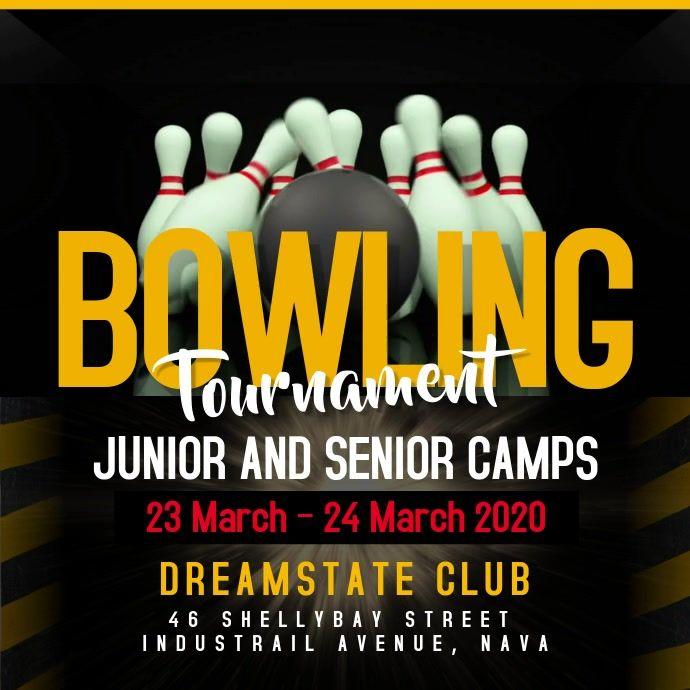Bowling Tournament Square Video Fundraiser Flyer Fundraising Poster Menu Design Template