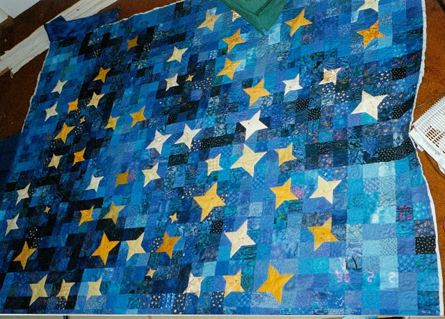 Night sky with stars quilt