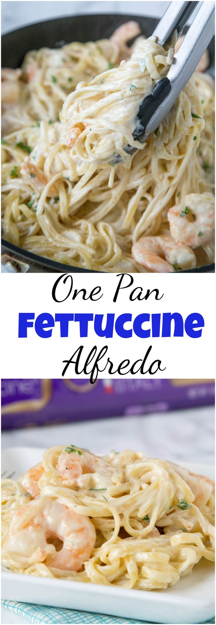 One Pan Fettuccine Alfredo with Shrimp - a simple fettuccine Alfredo recipe made in one pan. Add shrimp to have a romantic and easy meal you can enjoy any night of the week.