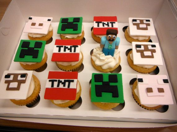 Minecraft Cupcake toppers by Blissfulbitesgourmet on Etsy, $36.00