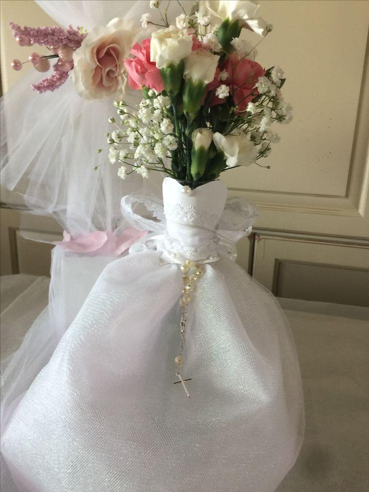 tulle centerpieces dress communion vase holding centerpiece