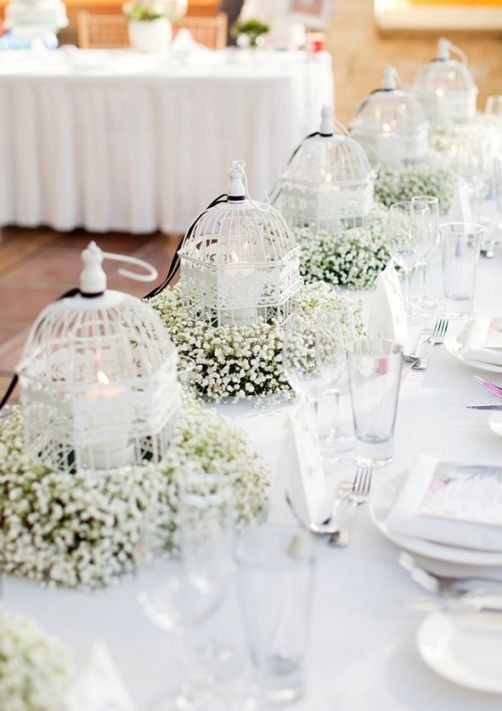 Birdcage And Babys Breath Wedding Decorations For Table