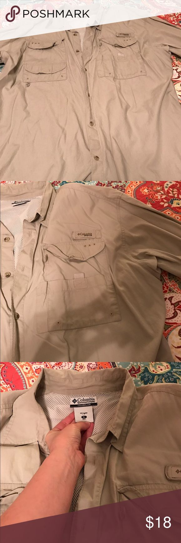Tan Columbia PFG shirt Tan Columbia PFG. Worn but still has lots of life left Columbia Shirts Casual Button Down Shirts
