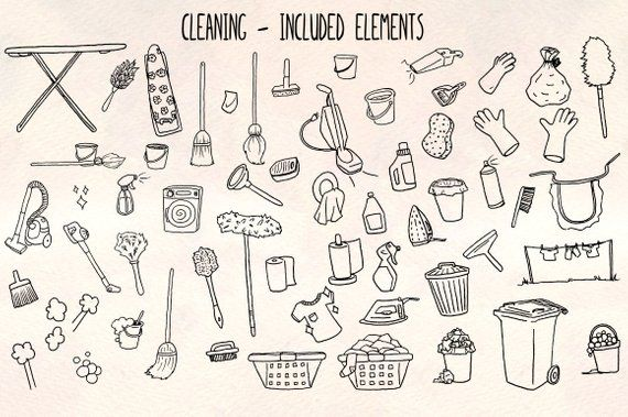 Cleaning 60 Housework Illustrations Vector Graphics Bundle
