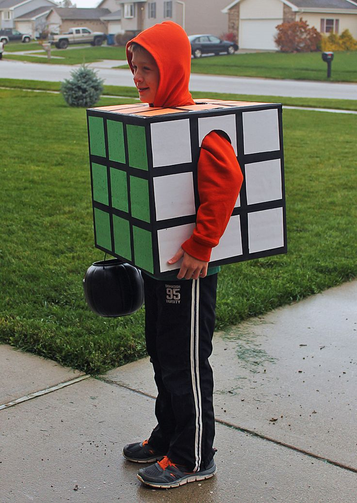 DIY Rubik's Cube Halloween Costume - Easy and super affordable to make, this retro costume is sure to get a lot of attention.