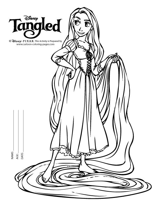 disney tangled coloring pages printable rapunzel color pages black white - Rapunzel Coloring Pages To Print