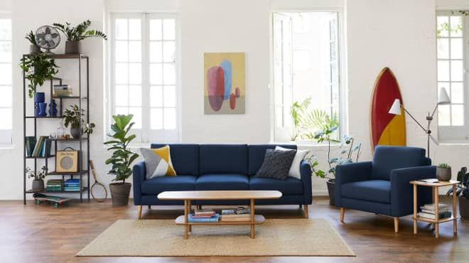 I Can T Stop Talking About My Burrow Sofa And It S On Sale Blue Sofas Living Room Living Room Designs Blue Sofa Living