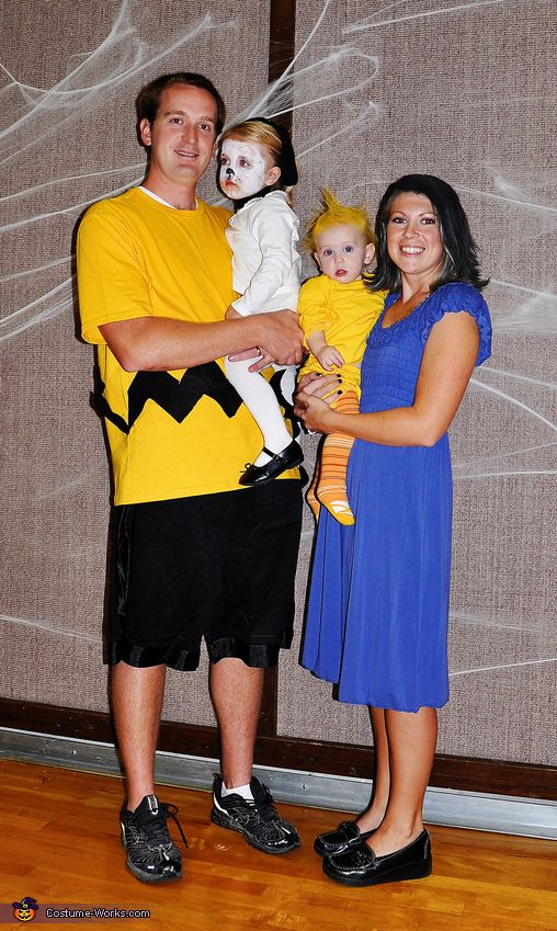 Charlie Brown Family Costume: Charlie Brown, Snoopy, Woodstock, and Lucy