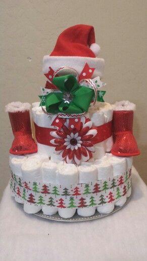 Girl Christmas diaper cake