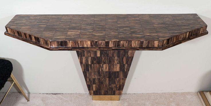 A Midcentury Console Table in Tessellated Horn in the Style of Karl Springer | From a unique collection of antique and modern console tables at https://www.1stdibs.com/furniture/tables/console-tables/