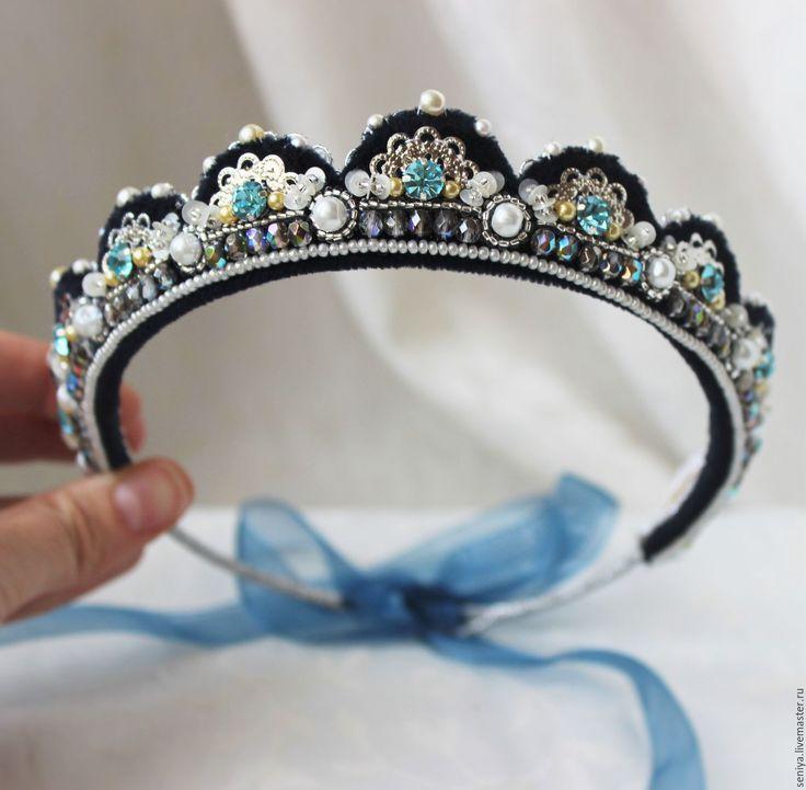 Купить Диадема синяя с бирюзовыми камнями - тёмно-синий, диадема, диадема невесты, тематическая свадьба
