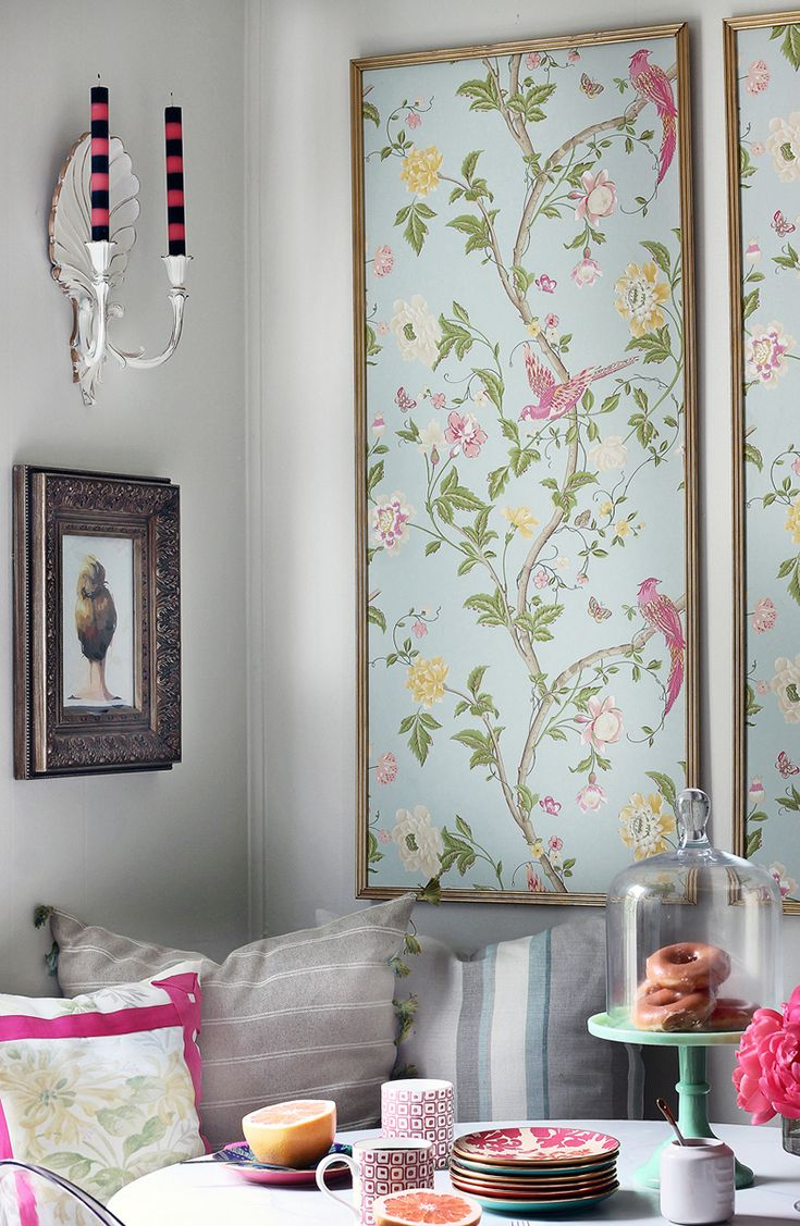 Try a large piece of chinoiserie art for your dining room, like this framed wallpaper. It will change a toned down space into an upbeat and fabulous interior.