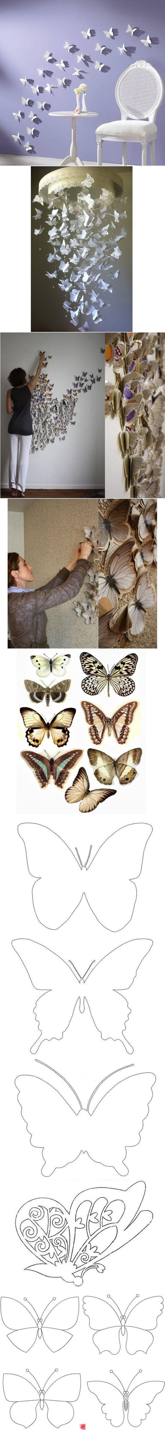 DIY Butterfly Pattern Wall Decor....lovely ♥  with templates for various butterfly shapes: