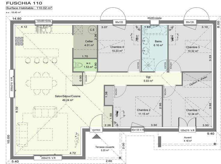 Plan - 4 ch. 6 p. 110m² en 2020 | Plan maison moderne, Plan maison, Plan maison 100m2