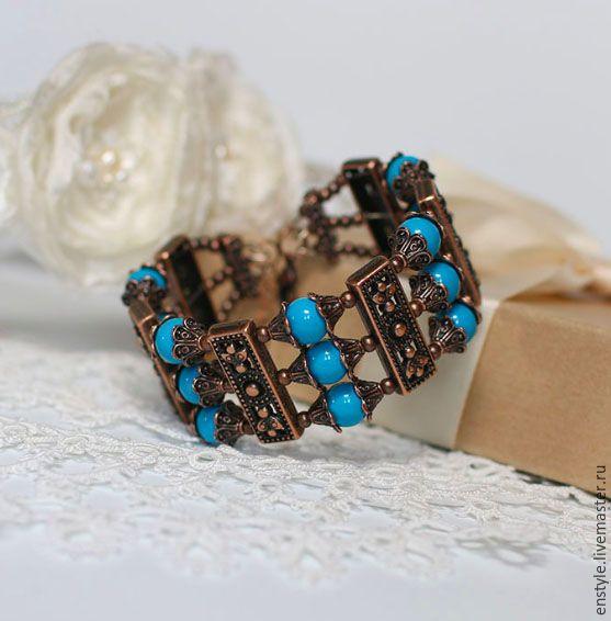 Купить Медный браслет Синий-синий :) - синий, широкий браслет, медный браслет