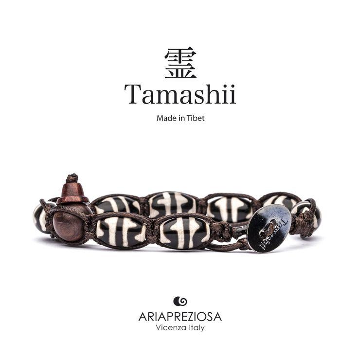 """Tamashii - Serie Speciale BkraShi realizzato con pietre naturali Onice con disegno tradizionale a mano dal significato """"SICUREZZA"""""""