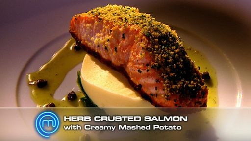 Crusted Salmon with Lemon Wilted Spinach and Creamy Potato Mash