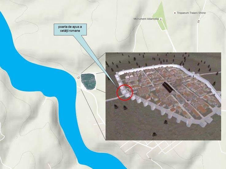 Poarta de apus - cea mai mare dintre cele patru porţi principale ale cetăţii romano-bizantine, flancată de două turnuri în formă de U - este orientată spre malul râului care asigura legătura cetăţii cu Dunărea (râu care azi este în mare parte secat, dar a cărui albie este perfect vizibilă). Poarta de apus a cetăţii romano-bizantine s-a suprapus porţii de vest a fortificaţiei romane timpurii, care era o poartă-ghilotină.
