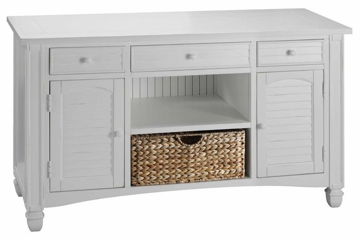 White Beach Cottage Louvered Media Tv Cabinet Console