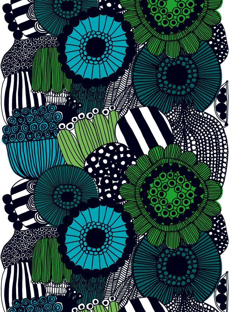 Siirtolapuutarha-kangas (valko,vihreä,musta) |Kankaat, Puuvillakankaat | Marimekko