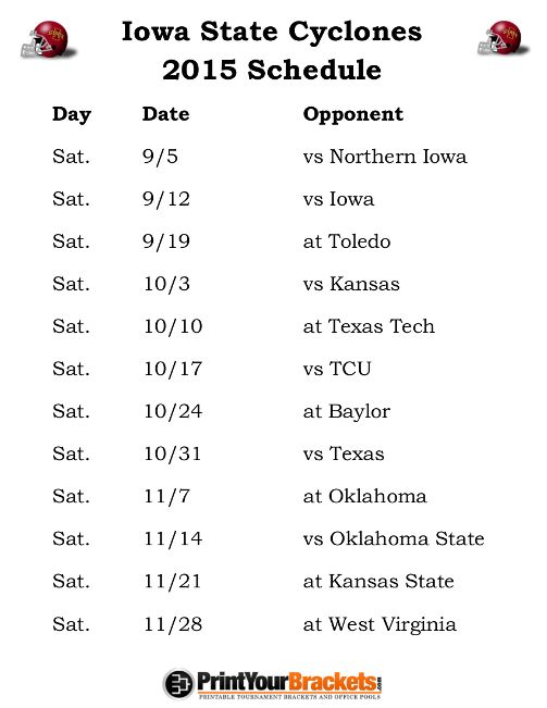 Printable Iowa State Cyclones Football Schedule 2015