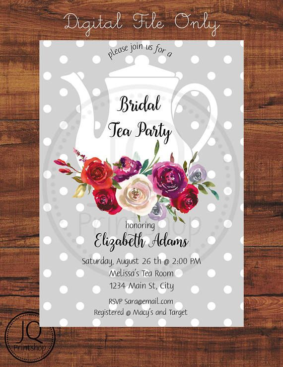 Digital File Only Printable Bridal Tea Party Invitation Bridal Tea Bridal Shower Invitation Bridal Shower Tea Bridal Tea Party Invitations Bridal Tea Party
