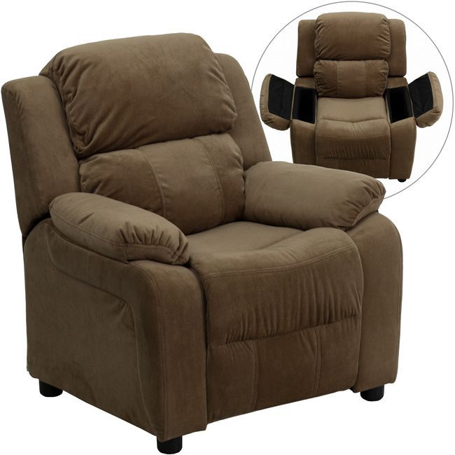 Give kids adult-style comfort in a kid-sized piece of furniture, with this kids' contemporary recliner chair in soft brown microfiber made just for them. This 'mini me' recliner features easy-to-clean upholstery and convenient storage arms.