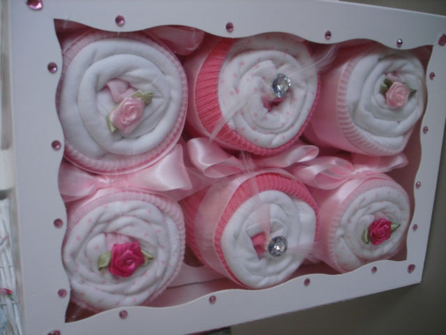Cute Cup Cakes Made With Baby CLothes ~ Baby Shower ~ Nappy Cakes ~ Gifts | eBay