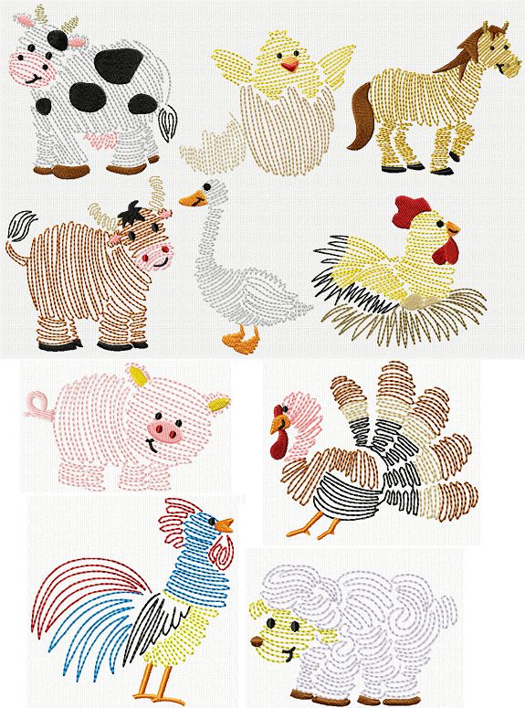 Swirly Animal Embroidery Designs