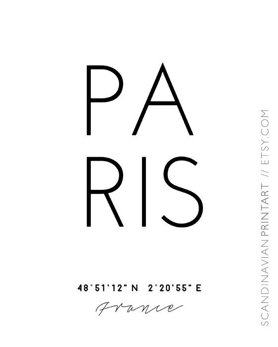 Paris poster paris print paris coordinates by ScandinavianPrintArt