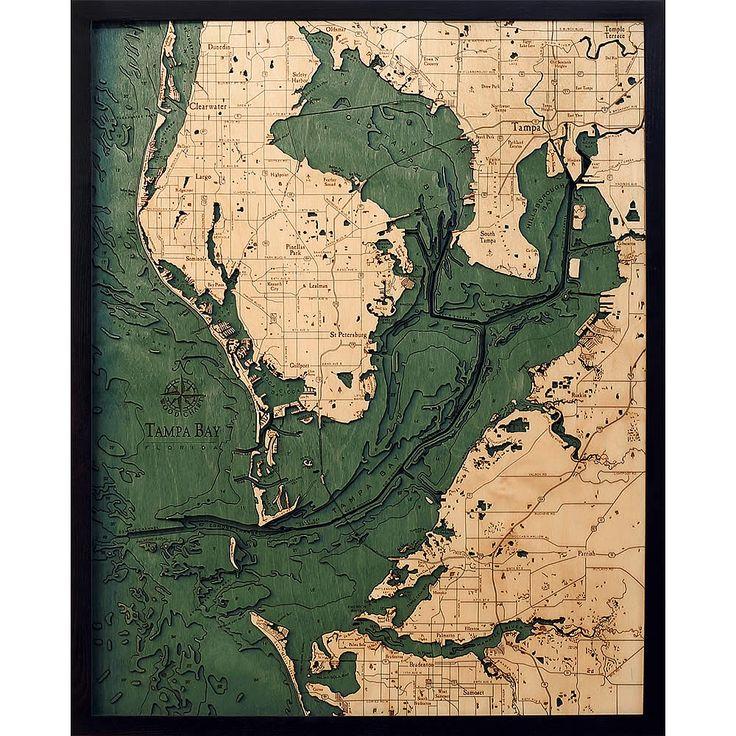 tampa bay fl wood map 3d carved