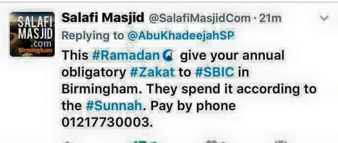 """Where can I pay my Zakaat?  SBIC is """"Salafi Bookstore & Islamic Centre"""" The contact number is for UK."""