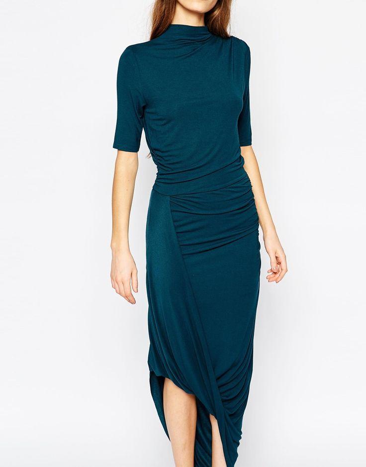 Image 3 - Selected - Campaign - Maxi robe drapée - Bleu sarcelle
