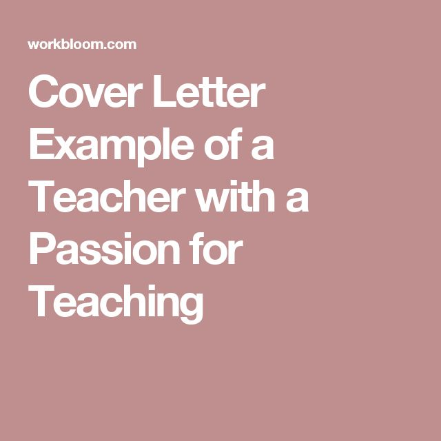 18 best Cover letter images on Pinterest Cover letter sample - teaching cover letter examples