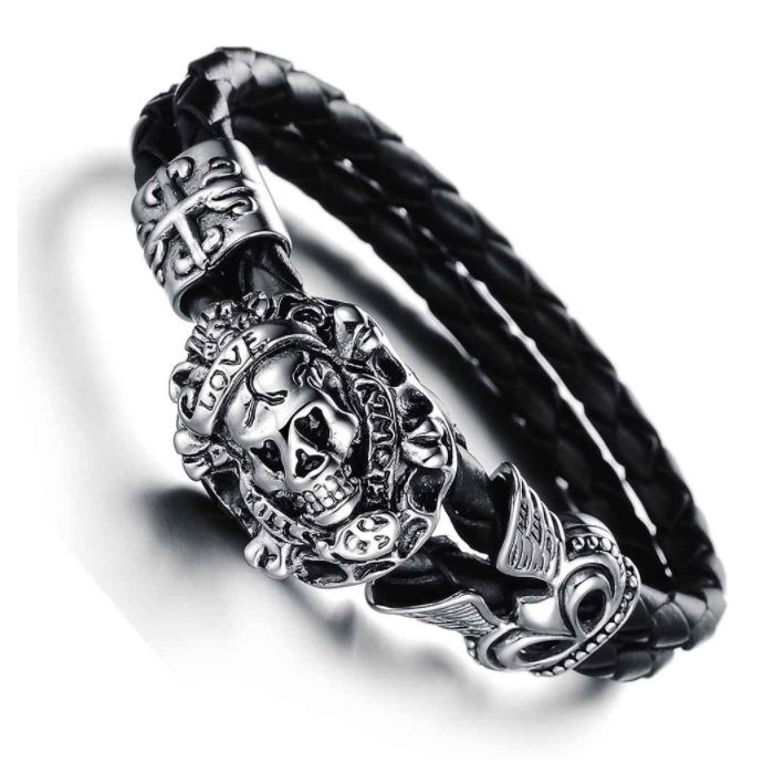 Discount Voucher Special!! >>> ENTER CODE: SUMMER AT CHECKOUT & SAVE FOR EACH AND EVERY ITEM IN OUR SPECIALS CATALOGUE! .... Specials items may be time limited so get yours quick! ....  Love Kills Slowly Skull Bracelet - Stainless Steel & Leather