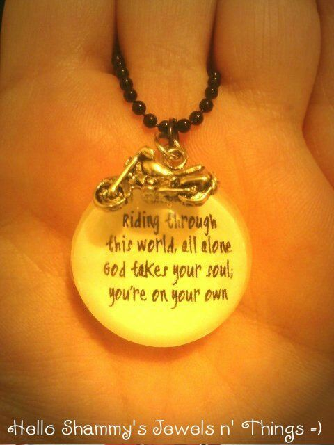 Sons of Anarchy Quote Necklace 1 with Motorcycle by HelloShammys