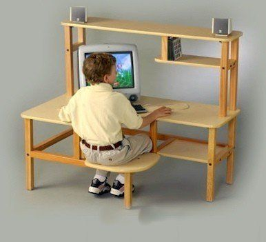 Wild Zoo Furniture Childs Wooden Computer Desk for 1, Ages 2 to 5, Maple/Red by Wild Zoo Furniture. $146.13. Attached seat. Corner desk. Optional grow kit and hutch are available. A computer desk designed especially for preschoolers, this desk comfortably fits one child ages 2 to 5 on the 18-Inch wide seat. deep enough for a full size desktop computer with solid wood legs and frame, sturdy laminated top with rounded corners and dent resistant edge banding. the attached...