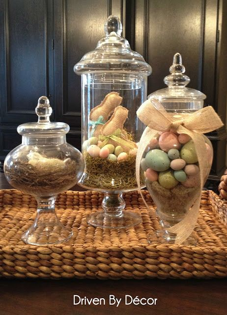 Apothecary Jars Decorated for Spring/Easter - Driven by Decor