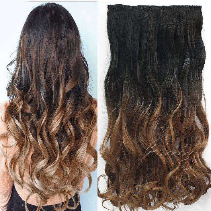 Donne di Modo 24 inch 60 cm One Piece Clip in Capelli Extention Ombre Colorate Estensioni Dei Capelli Ondulati Nero Naturale al Marrone Scuro B40
