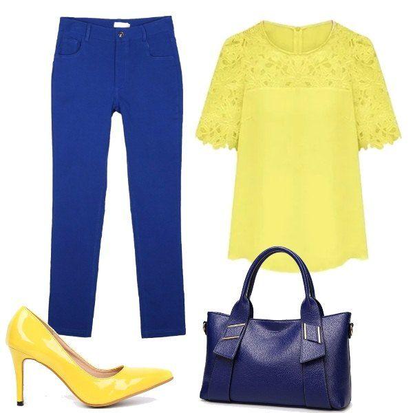 Due colori decisamente vivaci per la proposta che si compone di un paio di pantaloni skinny blu, abbinati ad una maglia con inserti in pizzo giallo. Le scarpe sono delle décolleté con tacco alto gialle, mentre la borsa a mano, comoda e capiente, è blu.