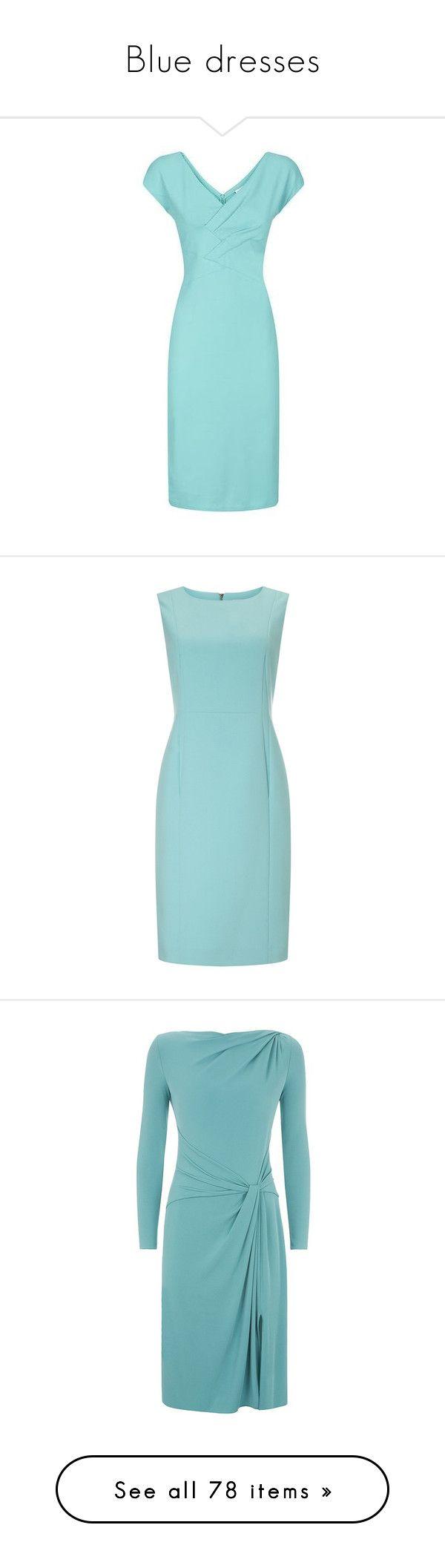 """Blue dresses"" by lorika-borika on Polyvore featuring dresses, blue jersey, blue draped dress, green jersey, draped dress, giorgio armani, petite, light blue dress, blue shift dress и shift dresses"