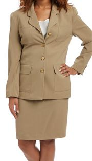 RF Studio 70004 ( 2pc Wool Ladies Career Suit With Front Pocket  Jacket And Skirt )