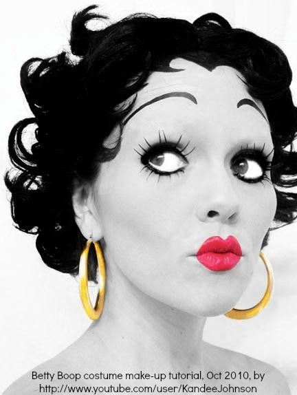 Betty Boop costume make-up tutorial (in color or black & white) by Kandee Johnson (make-up artist, USA) via youtube. 31 different costume make-up tutorials at link! Totally do-able. She walks you through every step. The woman is amazing!