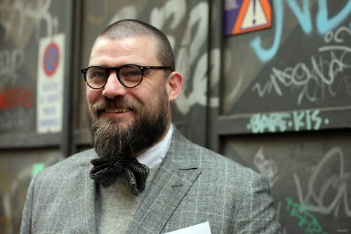 Dapper beard suit shaved head glasses bow tie | Bow Ties