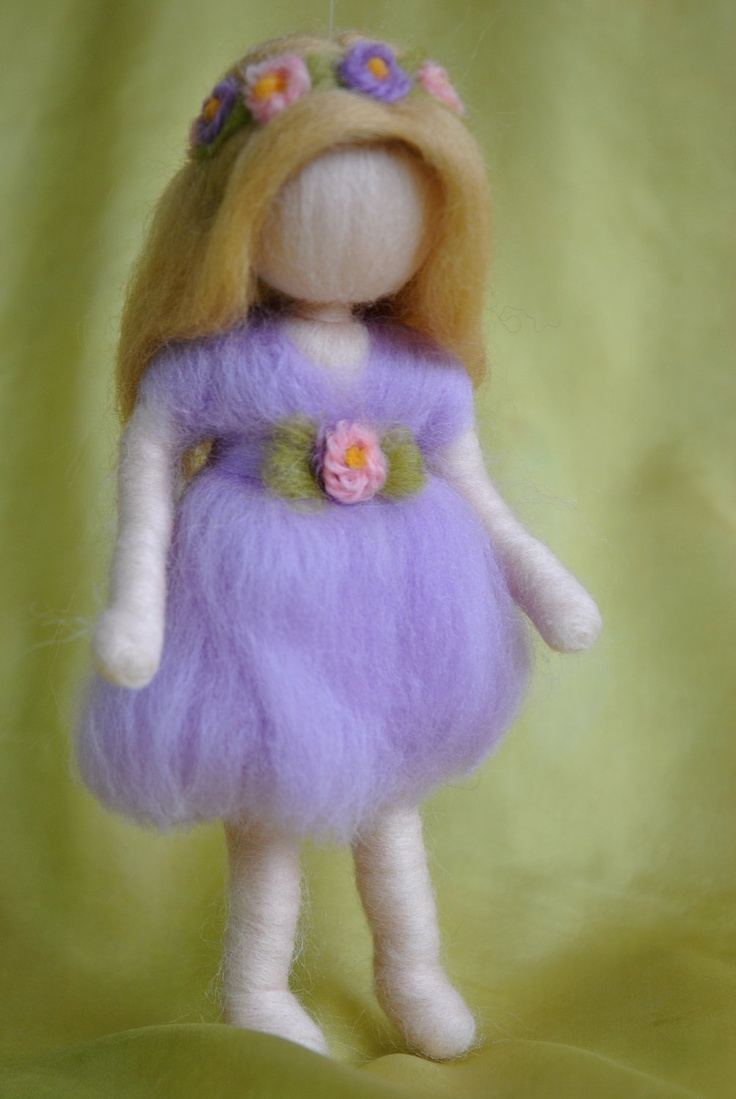 Waldorf inspired needle felted doll mobile: Violet spring fairy